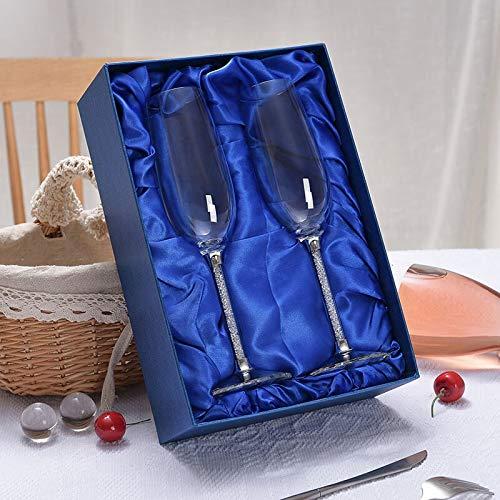 Gafas de flautas de champán del partido cristalino personalizado del boda de 2 piezas Tostado regalo de cristal copa de cristal Grabado Aniversario H1043 Jarra de cerveza ( Color : With gift b