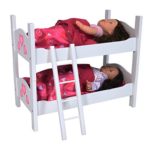 The New York Doll Collection Hochwertiges Zwillingspuppe Etagenbett aus Holz - Passt 18 Zoll/46cm Puppen, Trennbar