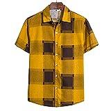 Casuales Camisas Hombre Moderna Tendencia Moda Abstracta Ligera Hombre Camiseta Verano Holgada Cárdigan Hombre Manga Corta Urbanas Casual Vacaciones All-Match Hombre Shirt TC63-Yellow M