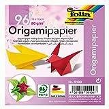 Folia 9100 - Hojas Plegables para Origami (10 x 10 cm, 80 g/m², 96 Hojas, 12 Colores Diferentes)