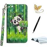 TOUCASA S8 Plus Handyhülle,S8 Plus Hülle, Brieftasche flip PU Leder ledercaseHülle Kartenfächer [3D Oberfläche] Ultra Glatte Berührung fürSamsung S8 Plus-(Panda)+StylusPen