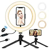 10.2' Selfie Ring Light with Stand, Phone Holder and Bluetooth Remote, LED Circle Light Ring for Live Stream/Makeup, Desktop Halo Camera Ringlight for YouTube Video/Photography/iPhone/Android/Laptop