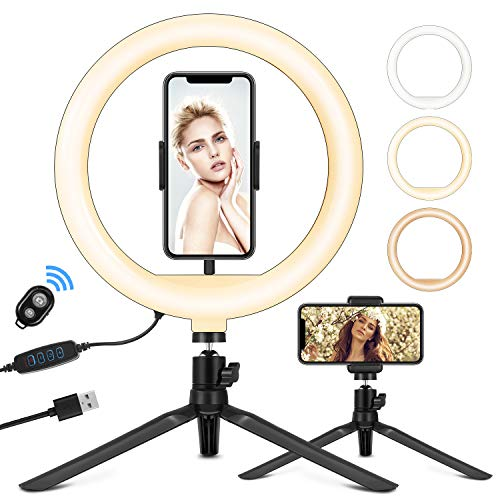 """10.2"""" Selfie Ring Light with Stand, Phone Holder and Bluetooth Remote"""