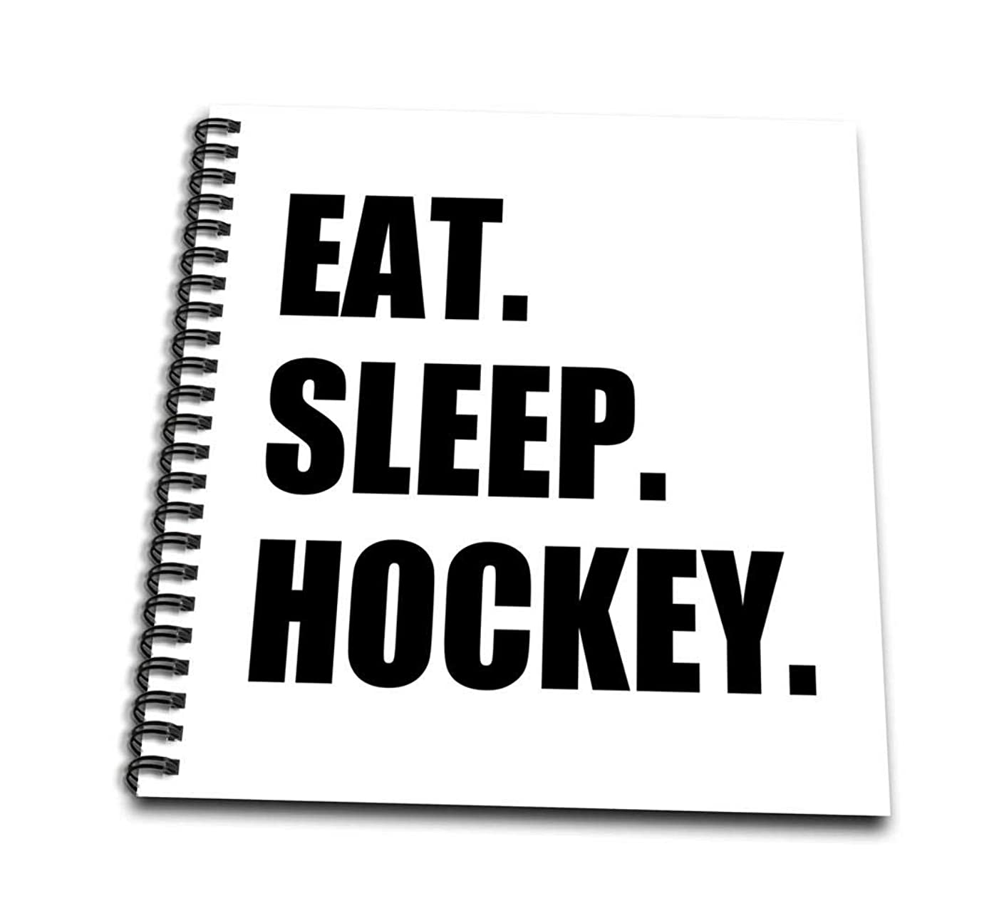 3dRose db_180410_1 Eat Sleep Hockey-Text Gift for Sport Team Players and Enthusiasts-Drawing Book, 8 by 8-Inch