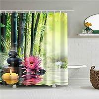 ZHAOXIN 花柄生地シャワーカーテン海景バススクリーン防水製品バスルームカーテン12フック付きデコレーション