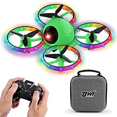 Dwi Dowellin 10 Minutes Long Flight Time Mini Drone for Kids with Blinking Light One Key Take Off Spin Crash Proof RC Nano Quadcopter Toys Drones for Beginners Boys and Girls with Carrying Case, Green