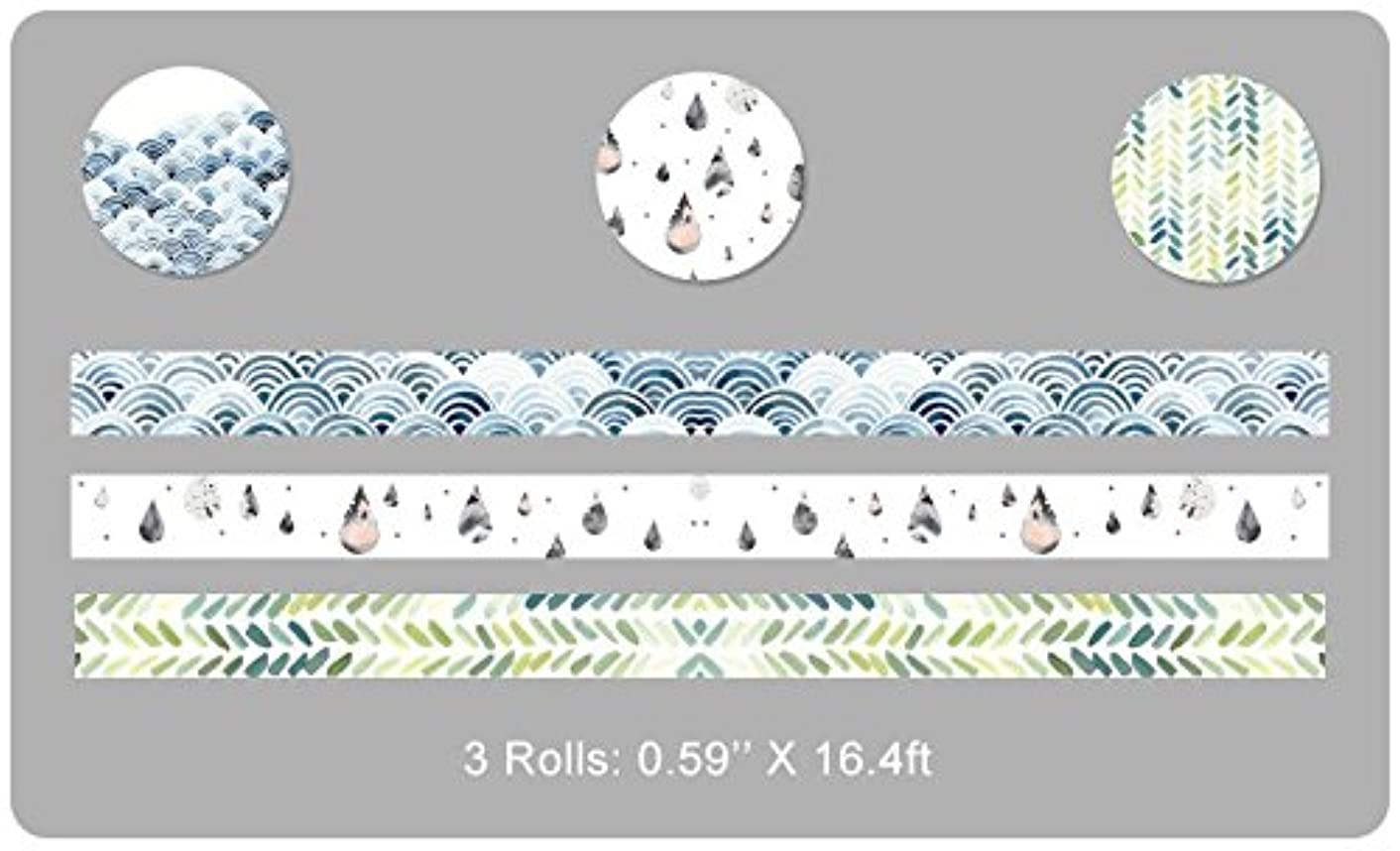 Washi Masking Tape Set Drafting Tool Helper BCopter Creative DIY Arts Kit Party Craft Favor for Kids Adults, Colorful Sticky Paper Decoration Gift Wrap Scrapbook Journal, Hand Tear (N-journal3)