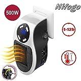 Mini Heater Chauffage pour Prise Murale 500W Espace Chauffe-eau Électrique Air Radiateur Accueil Fourneau, Fonction d'horloge (1−12 heures) (White)