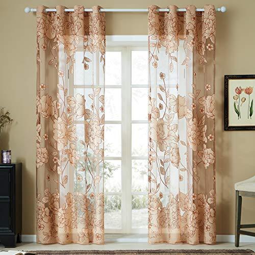 Topfinel Tülle Ösenvorhang mit Ausbrenner Blumen Mustern für Wohnzimmer Fenster Dekoschal 2er Set je 260x140cm (HxB) Khaki