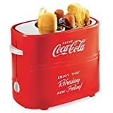 Nostalgia HDT600COKE Coca-Cola Pop-Up 2 Hot Dog and Bun Toaster, With Mini Tongs, Works With Chicken, Turkey, Veggie Links, Sausages and Brats, Red