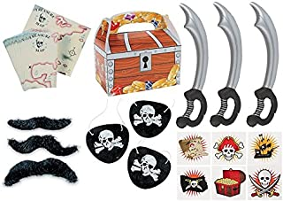 150 piece plus Pirate Party Favor Pack Toy bundle (Inflatable Swords, Tattoos, Mustaches, Eye Patches, Treasure chest Favor boxes, Maps)