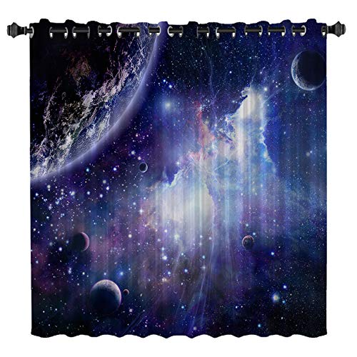 Blackout Curtains Kids Room Darkening Curtains Space Cosmic Sky Stars in Galaxy Nebula Cosmos 52' Wide x 45' Long Thermal Insulated Grommet Top Window Curtains for Bedroom