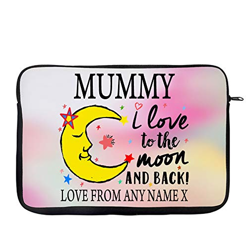 Personalised Mother's Day MUMMY I Love You To The Moon And Back Valentine Day Secret Santa Birthday Present Travel Bag Laptop Sleeve Unique Laptop Accessories. (9'-10')