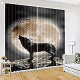 zpbzambm Living Room Bedroom Blackout Curtains 3D Art Moon and Wolf Printing Insulation Noise Reduction Black Silk Cortina 265(H) X200Cm(An) X2 Piezas/Set
