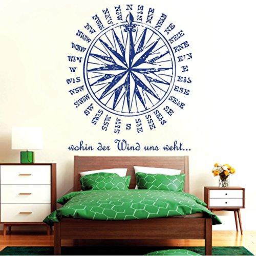 """Wandtattoo-Loft """"Kompassrose mit Schriftzug: Wohin der Wind Uns weht."""" - Wandtattoo / 54 Farben / 3 Größen/weiß / 115 cm breit x 133 cm hoch"""