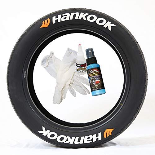 Tire Stickers Pegatinas para Llantas Hankook con Logo Naranja – Kit de Letras de Goma Permanente para neumáticos con Pegamento y Limpiador de retoque de 2 oz (Paquete de 8)