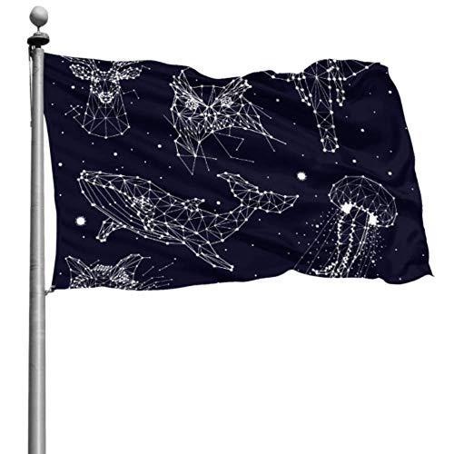 Generies Flaggen Dekoration Set Sternbild Elefant Eule Hirsche Wale Holiday Yard Flaggen Outdoor Dekorative Flaggen 4x6 Ft (120x180cm) Polyester Mit Ösen Dekorationen Innen/Außen