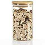 Dimono® Vaso di stoccaggio Vasi di stoccaggio in Vetro borosilicato Contenitori di Vetro per la conservazione con Coperchio di bambù (Taglia M)