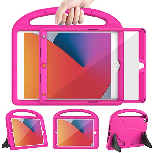 LEDNICEKER New iPad 8th Generation Case for Kids, iPad 7th Generation Case 2019, iPad 10.2 Case with Screen Protector, Shockproof Lightweight Handle Stand Case for iPad 10.2 2020 Latest Model, Rose