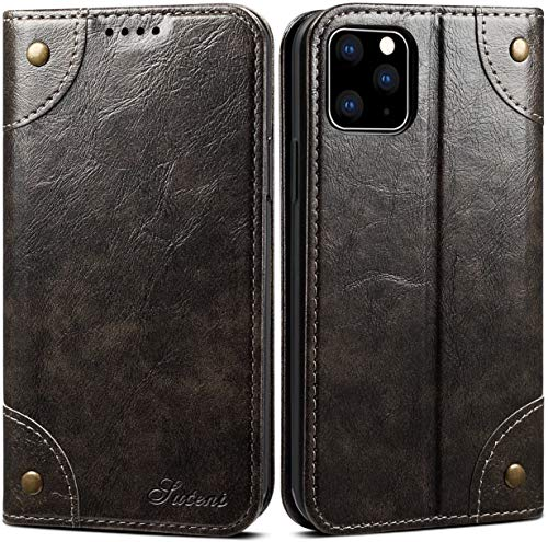 iPhone 11 Pro Max Leather Case, SINIANL iPhone 11 Pro Max Wallet Folio Case Book Design Magnetic Closure with Stand and ID Holder Credit Card Slots for iPhone 11 Pro Max 6.5 inch 2019 Dark Grey