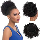 Fashion Line Synthetic Drawstring Ponytail Puff Afro Kinky Curly African American Hair Bun Extensions With Two Clips Donut Chignon Hairpieces Short Wrap Black