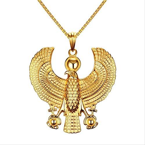 JIEZ Collares de Hombre Egipcio Horus pjaro halcn con Colgante de Ankh Color Dorado Acero Moda Hip Hop joyera de Disfraz