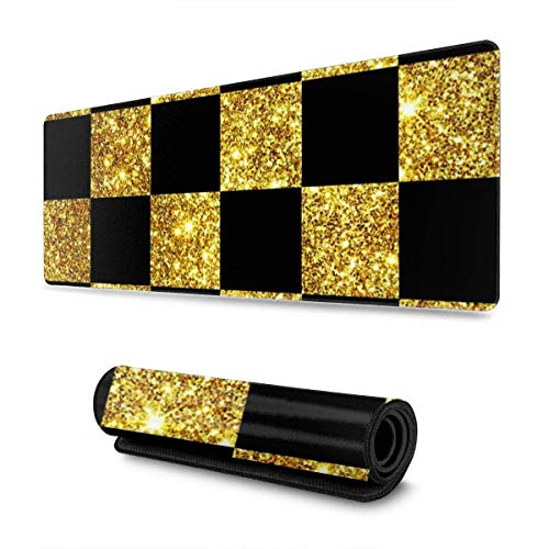 Alfombrilla de ratón para juegos, grande, gruesa (800 x 300 x 3 mm), diseño clásico dorado brillante negro a cuadros extendido, duradera, base de goma antideslizante, resistente al agua