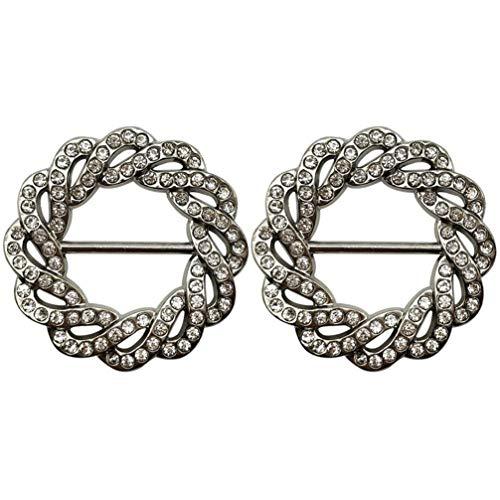 ABOOFAN 2 Unids Bufanda de Diamantes de Imitación Clips Mujeres Niñas Moda Elegante Broche Anillo Broche para Ropa Pañuelo Camiseta Chal