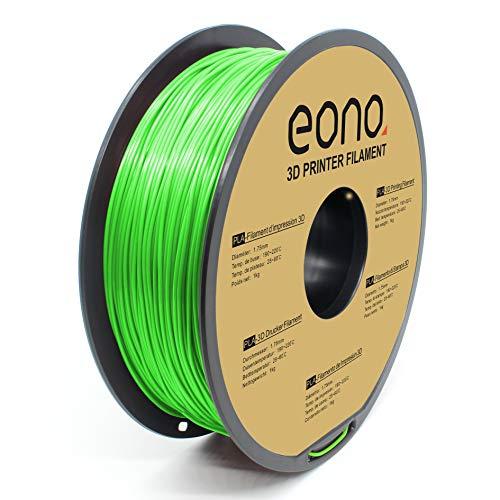Amazon Brand - Eono PLA 3D Printer Filament, 1.75mm, Green,1kg, Strong Bonding and Overhang Performance.