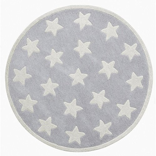 Kids Concept 601831 Teppich Star grau, kl. Sterne 100% Wolle, handgeknüpft ? 120 cm