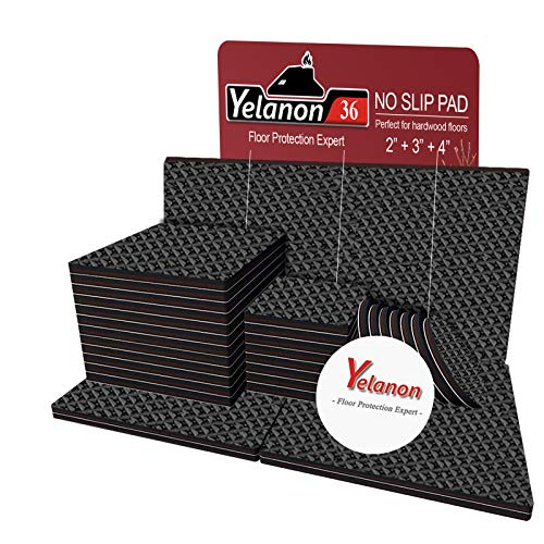 """Non Slip Furniture Pads -36pcs(2+3+4)"""" Furniture Grippers, Non Skid for Furniture Legs,Self Adhesive Rubber Feet Furniture Feet,Anti Slide Furniture Hardwood Floor Protector for Keep Couch Stoppers"""