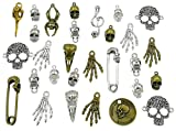 100 Grams Assorted Skull Skeleton Bone Punk Steampunk Charm Pendant Connector for DIY Necklace Bracelet Jewelry Making Findings