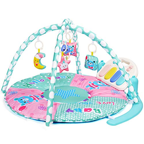 Amagoing Baby Play Gym, Kick & Play Piano Activity Mat with 5 Hanging Sensory Toys for Girl and Boy 0-36 Month