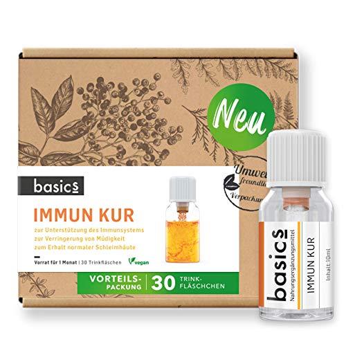 basics IMMUN KUR Monatskur, 30 x 10ml Fläschchen - Immunsystem stärken 15x Vitamin Komplex hochdosiert, Vegan mit Mineralstoffen - unterstützt Immunsystem und Energiestoffwechsel