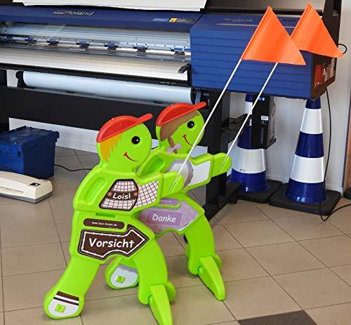 UvV Loisl Brems 3D Achtung spielende Kinder Warnschild (Warnpuppe für Spielstraßen, Kita, Spielplätze) (Junge Lederhose)