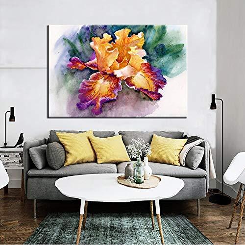 wZUN Obras de Pintura de Lienzo de Iris de jardín Abstracto Colorido y Cuadros de Arte de Pared de póster para decoración del hogar 60X90 Sin Marco