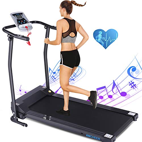 ANCHEER Treadmill, Folding Treadmills for Home with LCD Monitor, Electric Treadmill Pulse Grip and Safety Key, Jogging Walking Exercise Running Machine for Family/Apartment/Office Workout