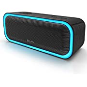 DOSS SoundBox Pro Portable Wireless Bluetooth Speaker V4.2 with 20W Stereo Sound, Active Extra Bass, Wireless Stereo Paring, Multiple Colors Lights, Waterproof IPX5, 10 Hrs Battery Life - Black