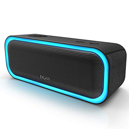 [Upgraded] DOSS SoundBox Pro Portable Wireless Bluetooth Speaker with 20W Stereo Sound, Active Extra Bass, Wireless Stereo Pairing, Multiple Colors Lights, Waterproof IPX5, 10 Hrs Battery Life -Black