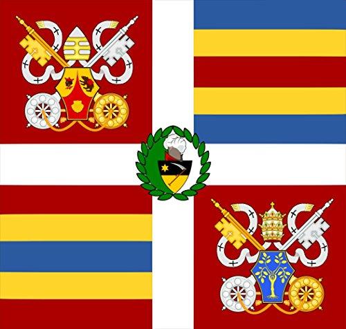 magFlags Drapeau Large Guardia VATICA BENET XVI | Versión de la Bandera de la Guardia Suiza Vaticana | 1.35m² | 110x120cm
