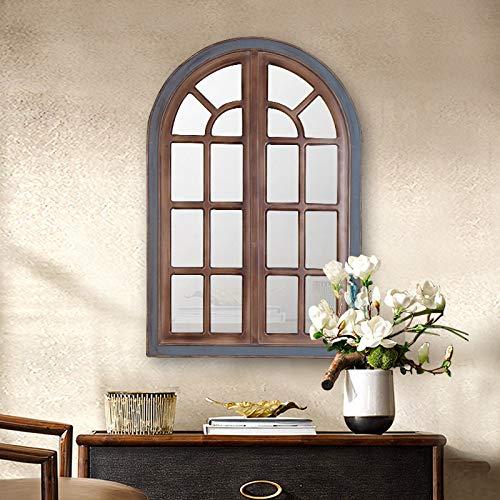 Espejo De Ventana De Arco Vintage Espejo con Marco De Madera Decoración De Pared para Dormitorio Sala De Estar Y Pasillo