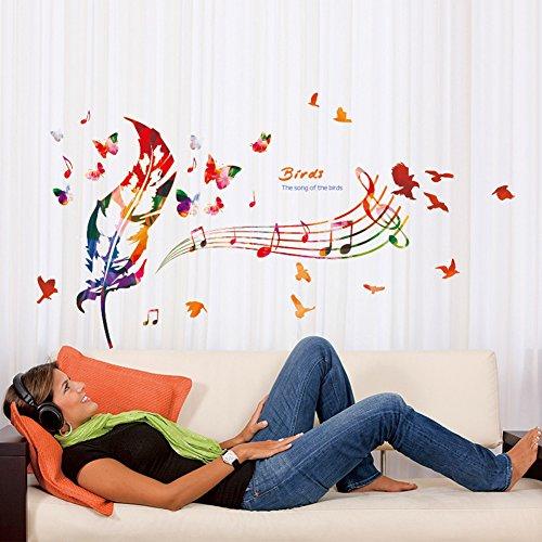 Wallpark Artístico Colorido Plumas The Song of The Birds Notas Musicales Desmontable Pegatinas de Pared Etiqueta de la Pared, Sala Dormitorio Hogar Decorativas Adhesivas DIY Arte Murales