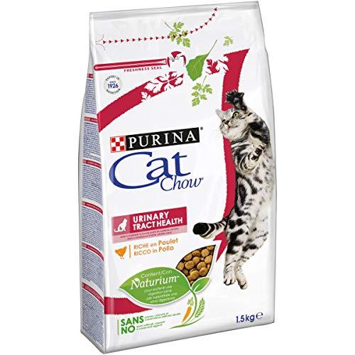 Purina Cat Chow Urinary Tract Health Gatto Crocchette Ricco in Pollo, 6 Sacchi da 1.5 kg