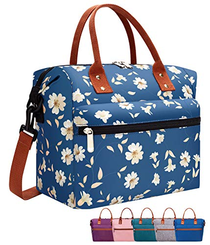 Leakproof Insulated Lunch Tote Bag with Adjustable & Removable Shoulder Strap, Durable Reusable lunch Box Container for Women/Men/Kids/Picnic/Work/School-Chrysanthemum Blue