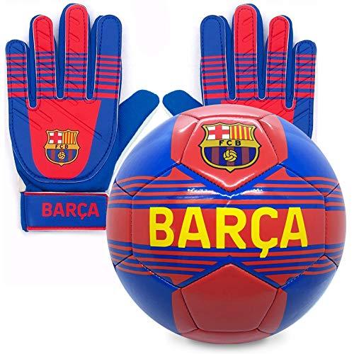FCB FC Barcelona - Juego Oficial de Guantes de Portero y balón - para niños - con el Escudo del Club - Niños: 5-10 años