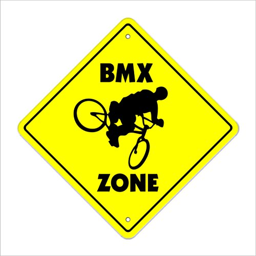 "BMX Crossing Sign Zone Xing | Indoor/Outdoor | 12"" Tall Bike Frame Bars Race Helmet Biking Biker Bikes Racing"