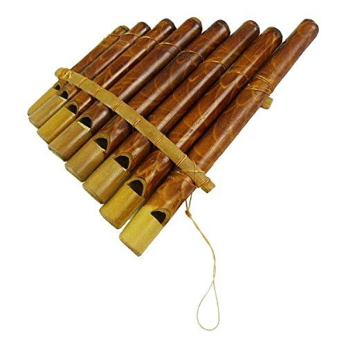 Panflöte Pfeife aus Bambus mit Mundstück -ideal für Einsteiger, Blas Instrument Handarbeit Musik Rhythmus Klang Percussion Kinder Spielzeug (Mittel)