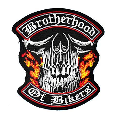Lilie Crea Biker Biker Biker Brotherhood of Bikers Marmelade Biker Skull Motorrad Aufnäher Aufbügler zum individuellen Aufbügeln von Kleidung und Zubehör 9,3 cm x 8,5 cm