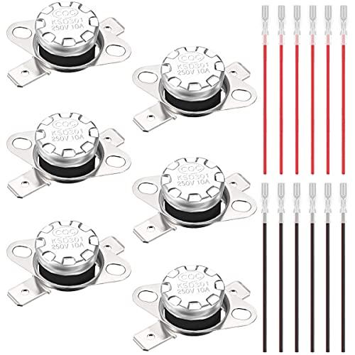 Youmile 6PCS KSD301 40°C / 104°F Interruptor de temperatura del termostato 250V 10A Interruptor de control térmico NC normalmente cerrado para microondas con 12PCS Terminal de crimpado con cable