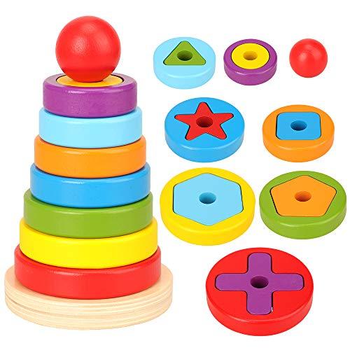 Stapelturm aus Holz, Steckturm Sortier- und Motorikspielzeug Steckspiel zum Lernen von Größen, Formen und Farben, Pyramide Spielzeug Holzspielzeug ab 18 Monaten